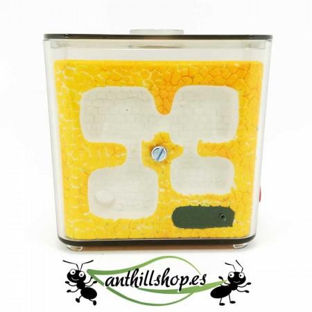 granja de hormigas artesanal color amarillo